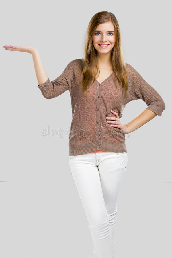 Woman holding something royalty free stock images