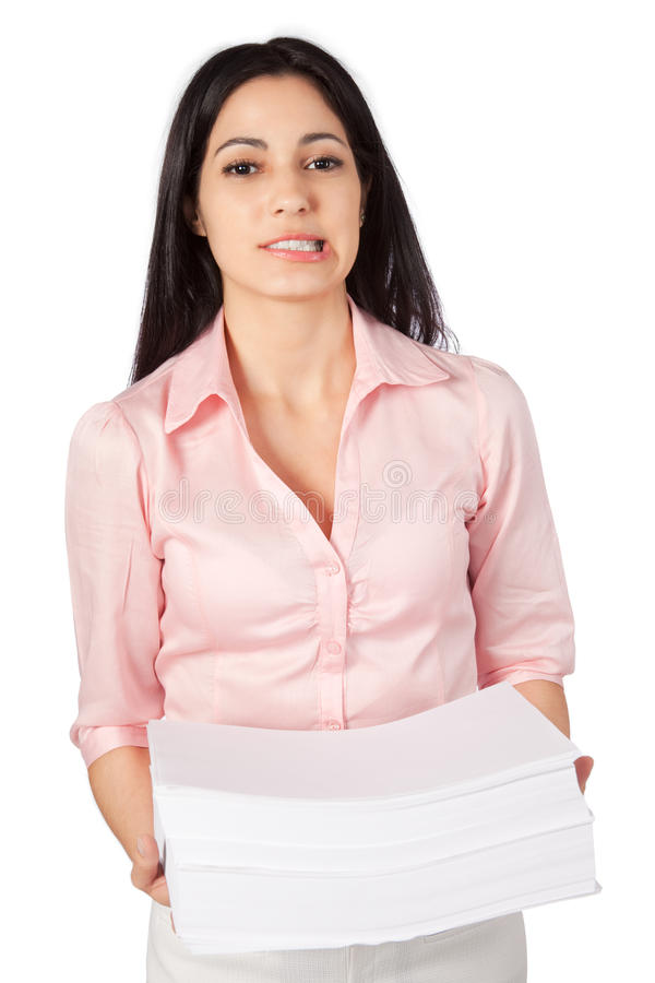 Woman holding stack of paper stock photo image of expression download woman holding stack of paper stock photo image of expression overworked 36692594 publicscrutiny Images