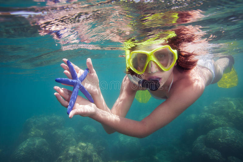 Woman holding starfish royalty free stock photo