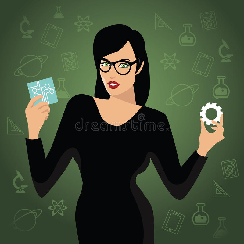 Woman holding STEM icons. EPS10 vector stock illustration