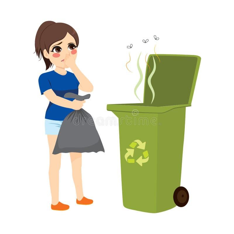 Girl Throwing Stinky Trash vector illustration