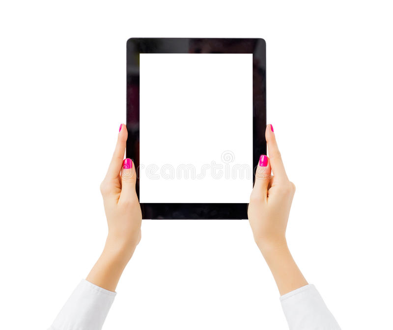 Woman holding tablet computer vertically. On white background royalty free stock photo