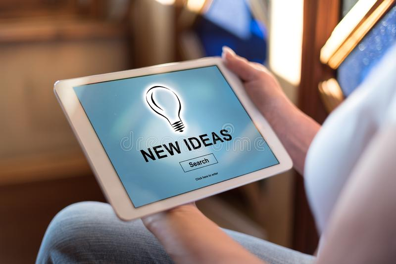 New ideas concept on a tablet. Woman holding a tablet showing new ideas concept stock photography