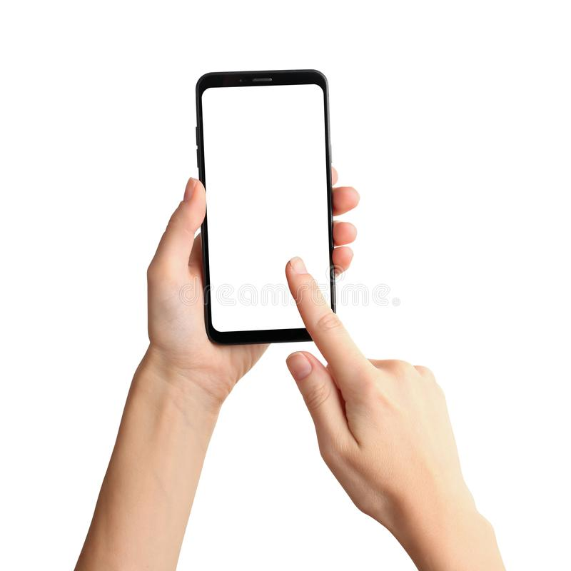Woman holding and touching smartphone screen on white background. Space for text royalty free stock images
