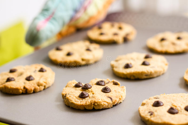 Woman holding a tray with baked cookies with kitch stock photos