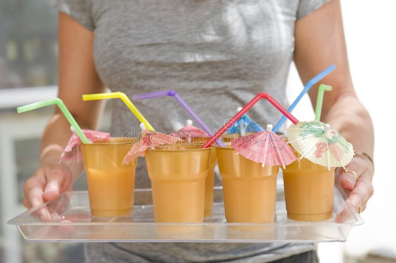 Download Woman Holding A Tray With Cups Stock Photo - Image: 14923760