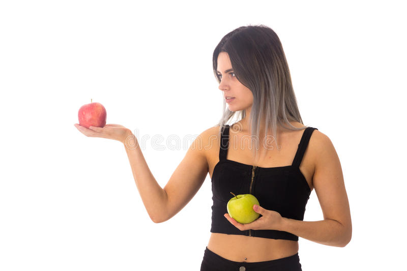 Woman holding two apples royalty free stock image