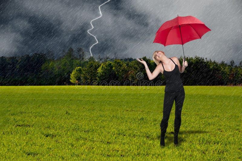Woman Holding Umbrella royalty free stock photo