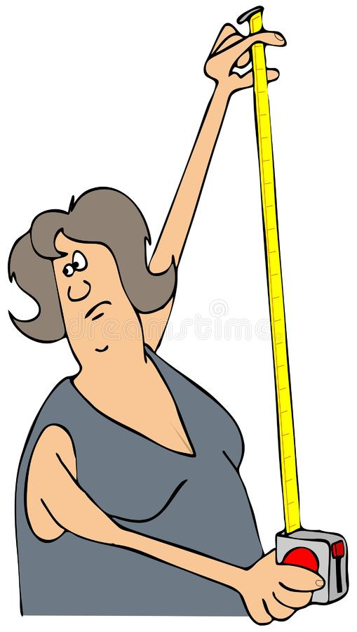 Woman holding up a tape measure stock illustration