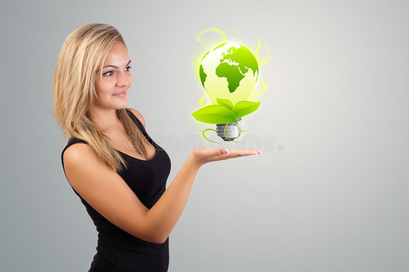 Download Woman Holding Virtual Eco Sign Stock Illustration - Image: 41032562