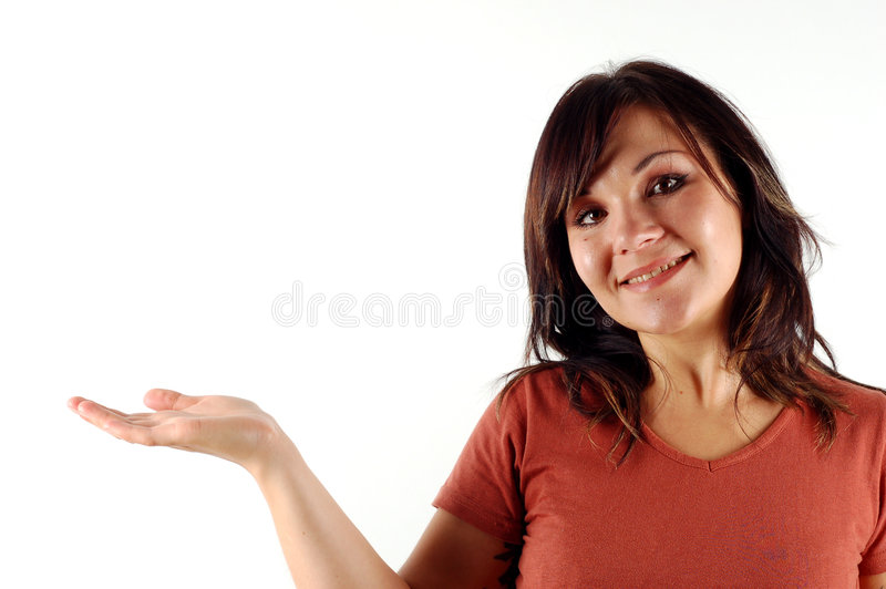 Woman holding virtual product royalty free stock photography