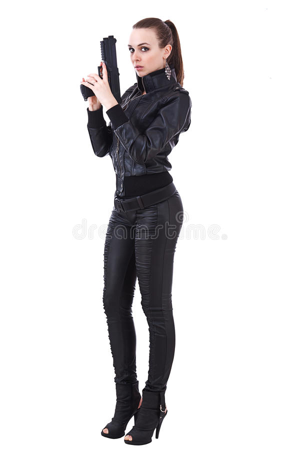 Woman holding weapons royalty free stock images