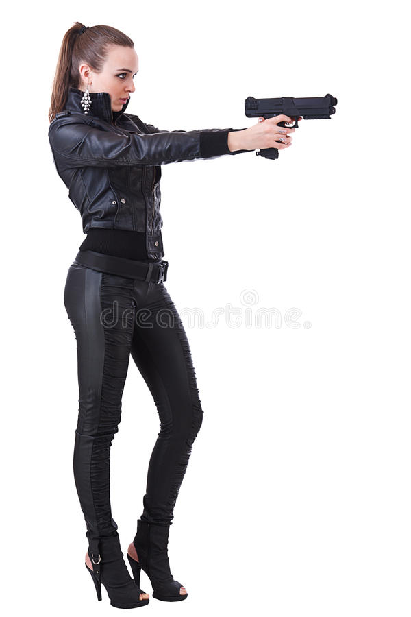 Woman holding weapons stock image