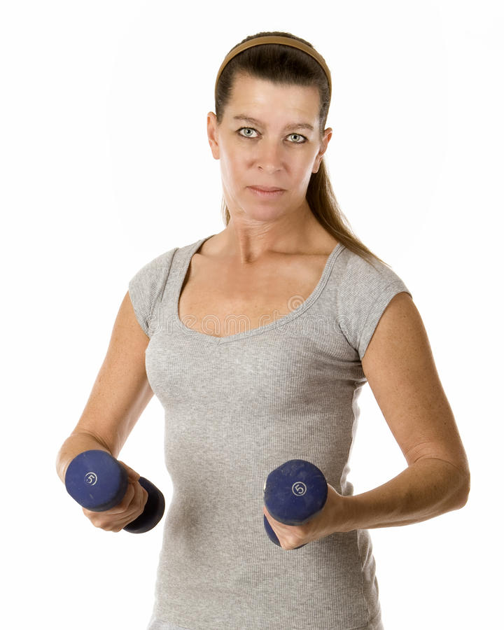 Woman Holding Weights Stock Images