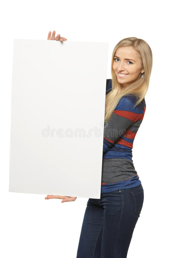 Download Woman holding white board stock photo. Image of advertisement - 24161000