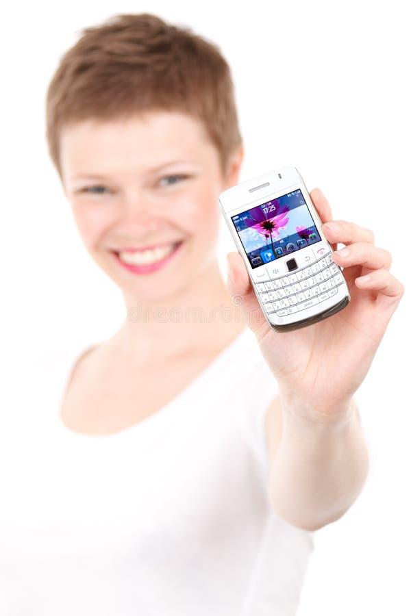 Woman Holding White Qwerty Phone Free Public Domain Cc0 Image