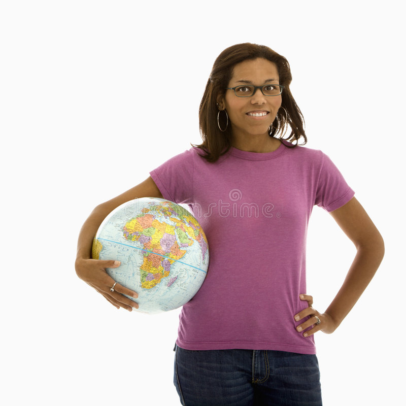 Woman holding world. stock images