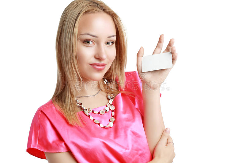 Woman holds card royalty free stock photography