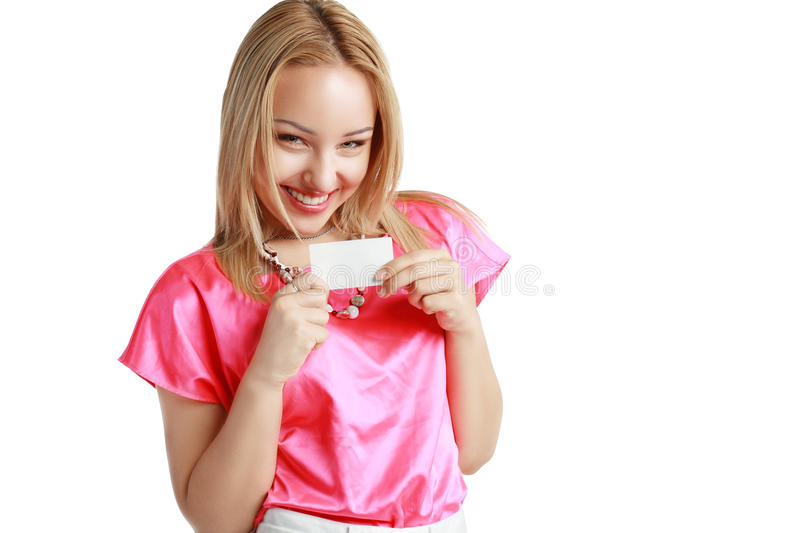 Woman holds card stock images