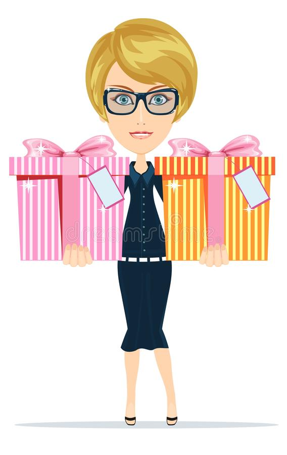 Woman holds gifts for you, vector illustration. Business woman holding a gifts for you, vector illustration vector illustration