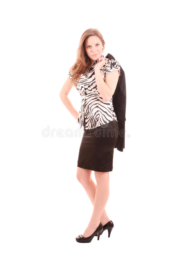 Woman Holds Jacket Stock Images
