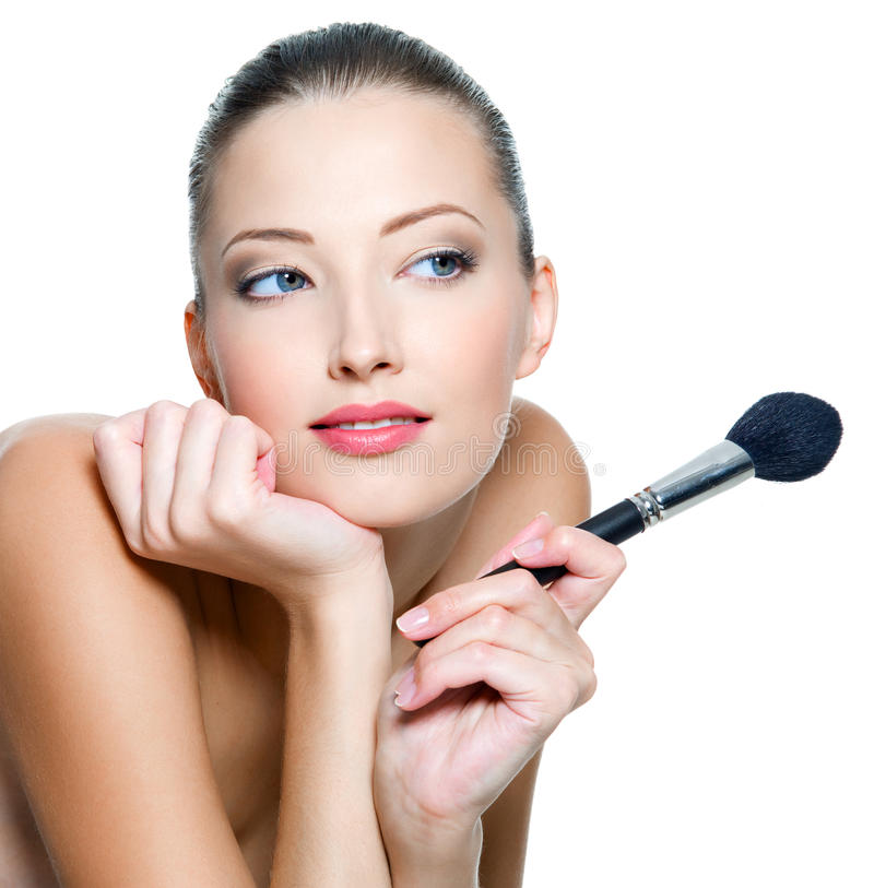 Woman Holds Make-up Brushe For Applying  Rouge Royalty Free Stock Photography