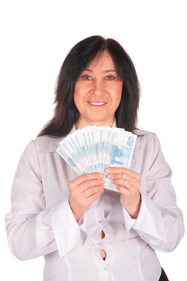 Woman holds rubles stock photo