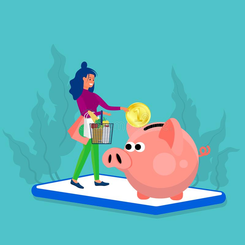 Free Woman Holds Shopping Basket And Putting Big Coin Into Piggy Bank. Stand At Big Phone. Concept Art Of Cash Back, Discount Royalty Free Stock Photo - 165626335