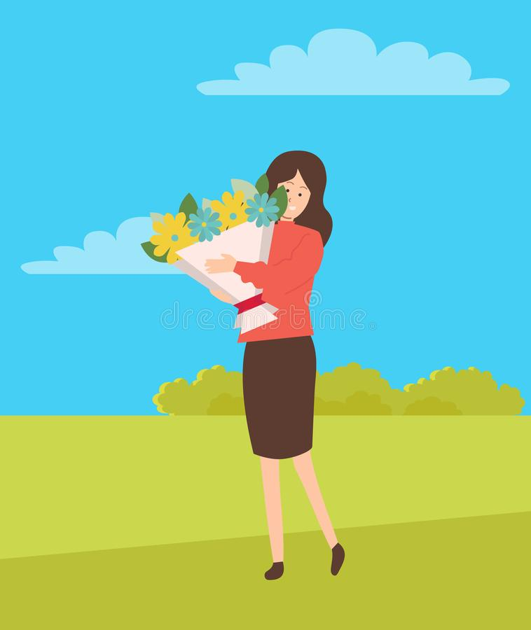 Woman on Holiday Vector, Girl Holding Big Bouquet. On green lawn with blue sky. Floral yellow and blue flowers, leaves and foliage fillings, happy female vector illustration