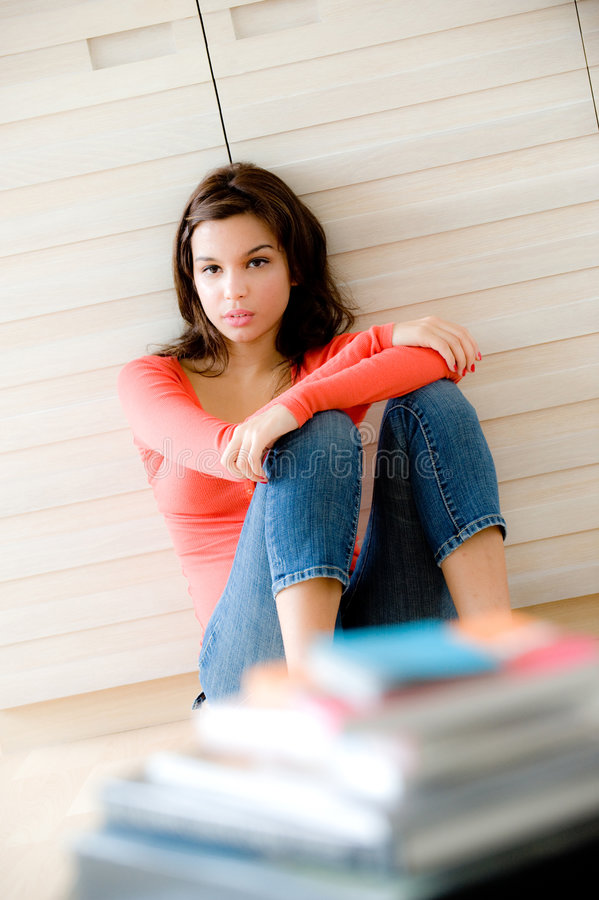 Download Woman At Home stock image. Image of jeans, female, interior - 6419063