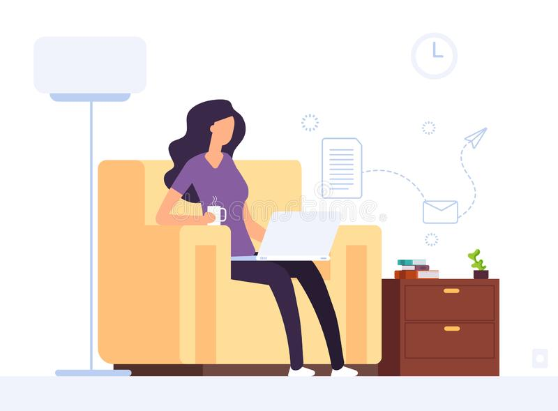 Woman at home office. Girl working with laptop. Professional businesswoman works with computer in home interior. Vector stock illustration