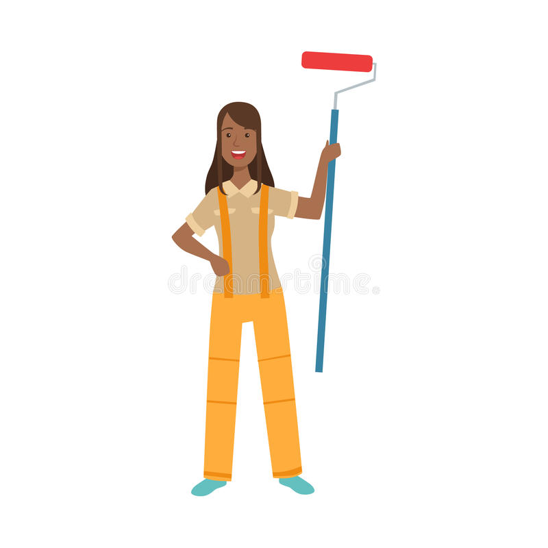 Woman Home Painter With Painting Roll, Part Of Happy People And Their Professions Collection Of Vector Characters royalty free illustration