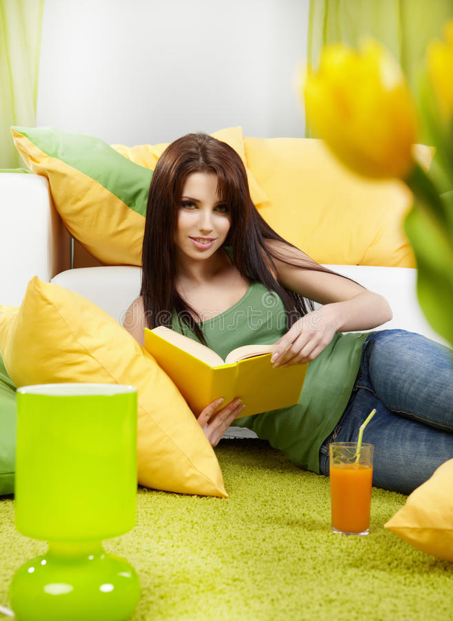 Download Woman At Home Reading A Book Stock Image - Image of spring, green: 12997599
