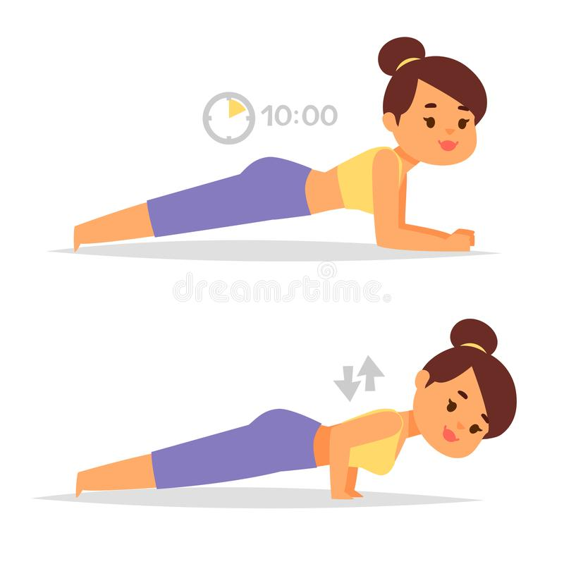 Woman home workout vector exercising at home fitness character training coaching healthy living and diet concept stock illustration