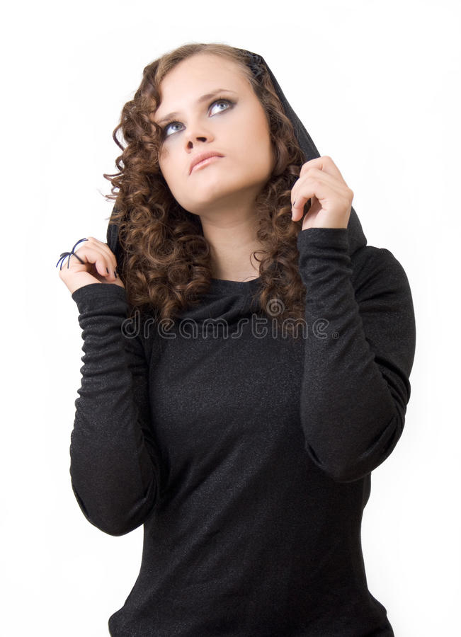 Download Woman in a hood. stock image. Image of black, holding - 17822481