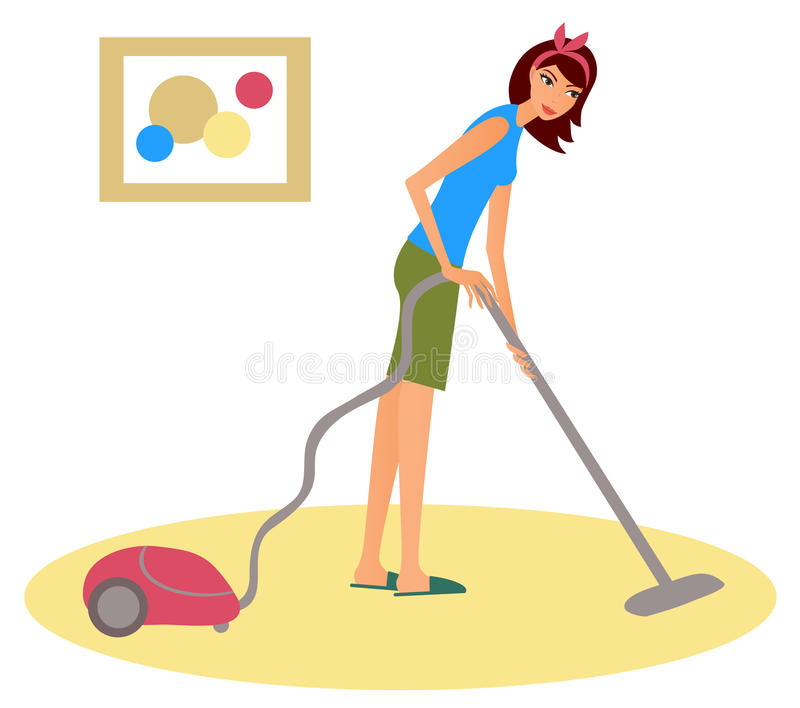 Woman with a hoover. Young woman cleaning floor with a hoover royalty free illustration