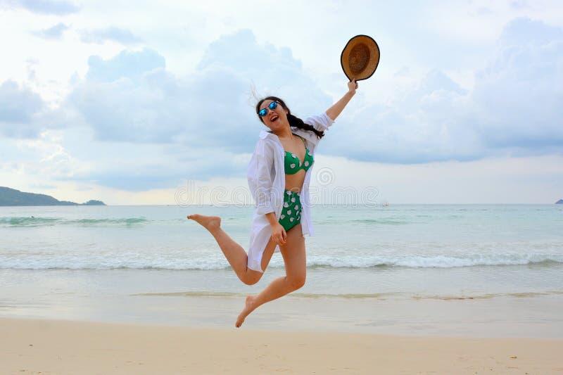 Woman Hopping On Beach Free Public Domain Cc0 Image