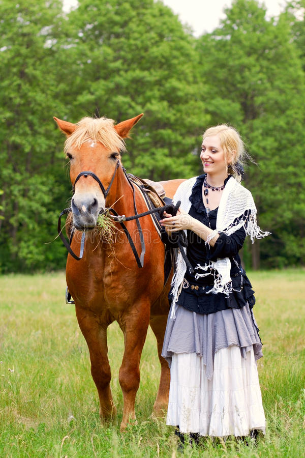 Download Woman with horse stock photo. Image of girl, length, caucasian - 25396604