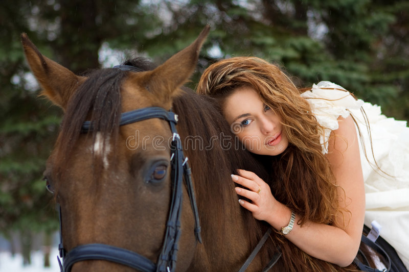 Woman On A Horse Royalty Free Stock Photos