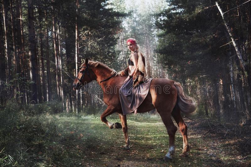 Woman on a horse in the fall. Creative bright pink makeup on the girl face, hair coloring. Portrait of a girl with a horse. Horseb. Ack riding in the autumn stock image