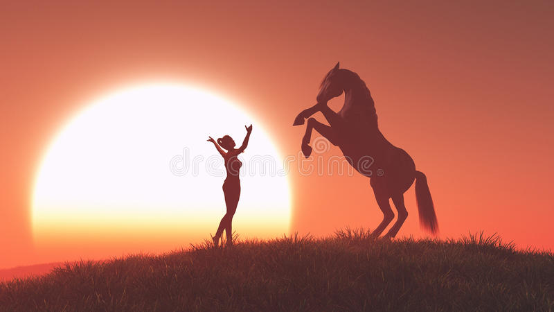 Woman and horse vector illustration
