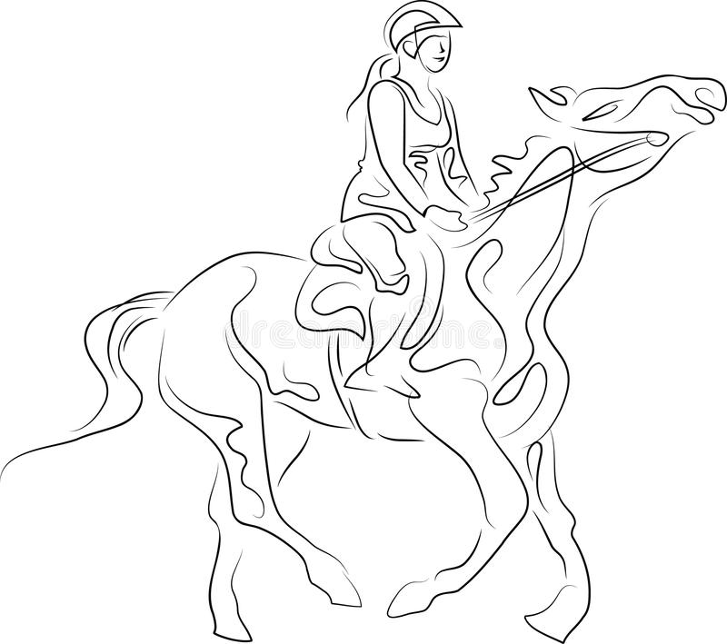A woman horse riding stock illustration