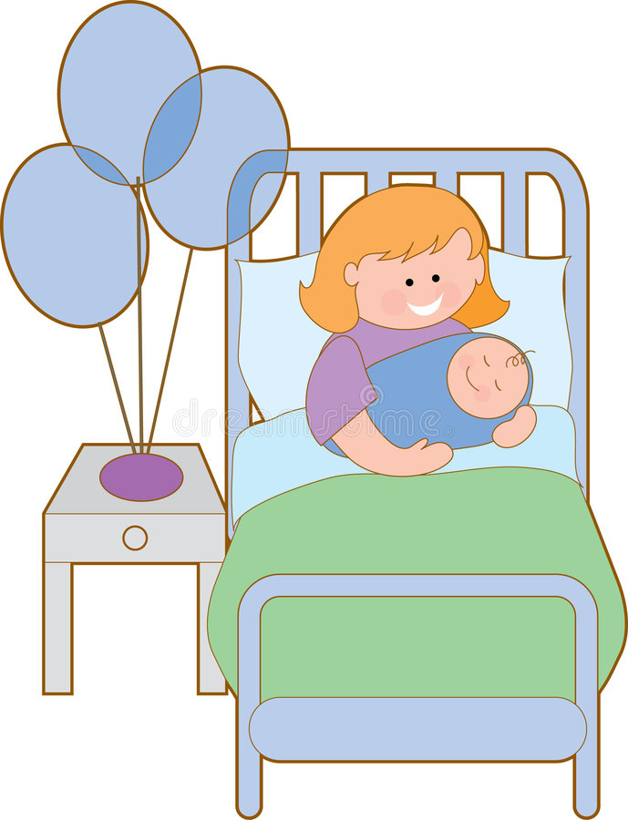 Woman in hospital. Bed with new baby boy stock illustration