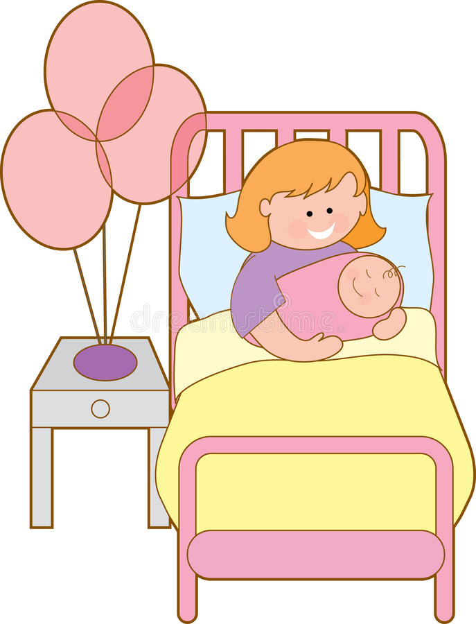 Woman in hospital. Bed with new baby girl vector illustration