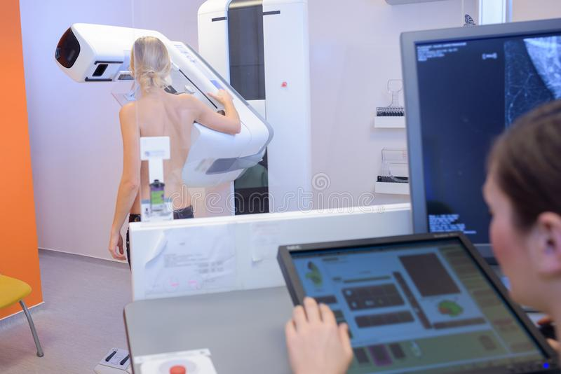 Woman in hospital for mammography scan. Mamography stock photography