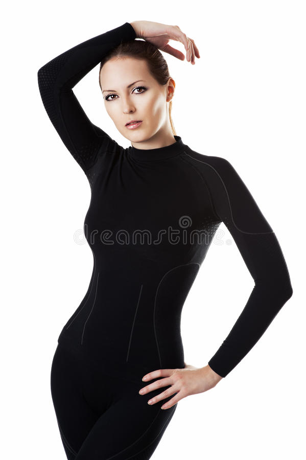 Woman in hot sports underwear royalty free stock photography