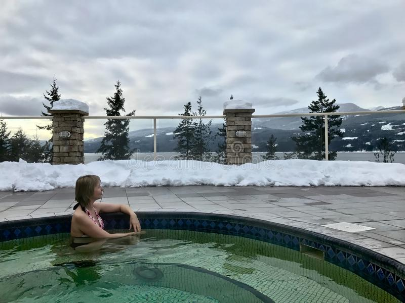 Woman in Hot Springs Pool with hot mineral healing water. stock photography