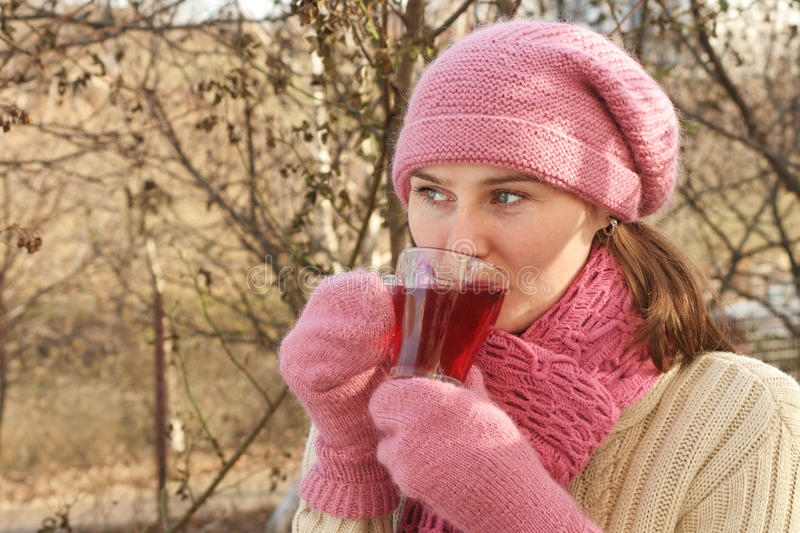 Download Woman With Hot Tea Royalty Free Stock Photos - Image: 12040438