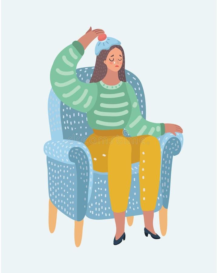 Woman with hot-water bottle on head. Headache. stock illustration