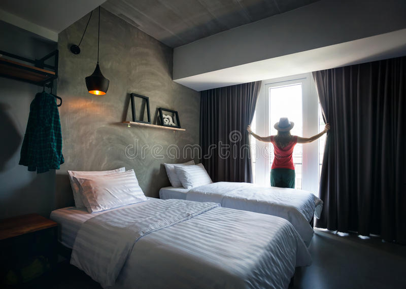 Woman in Hotel Room stock images